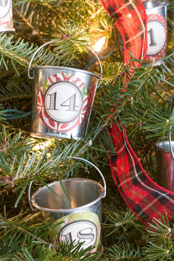 Our Christmas home tour - mini galvanized buckets hold advent calendar treats