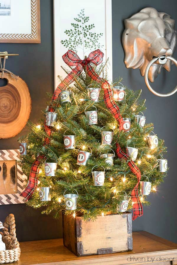 Christmas home tour - our Christmas advent tree with treats in mini galvanized buckets