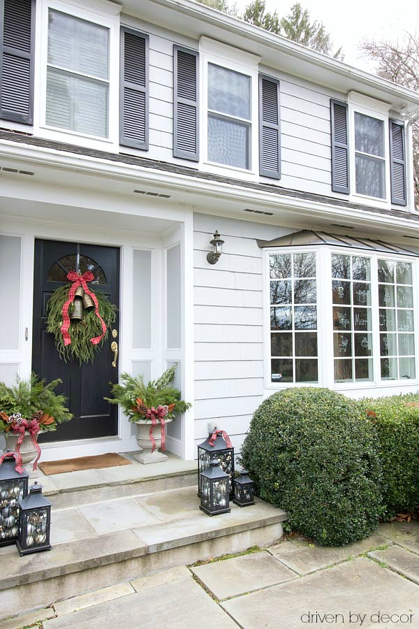 Christmas home tour - our front porch and windows decorated for the holiday