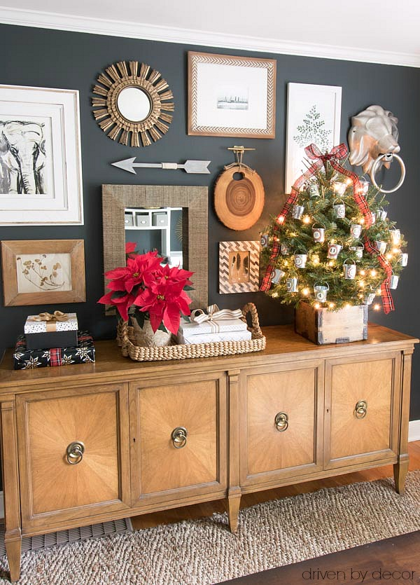 Christmas home tour - our office decorated for the holidays with a Christmas advent tree