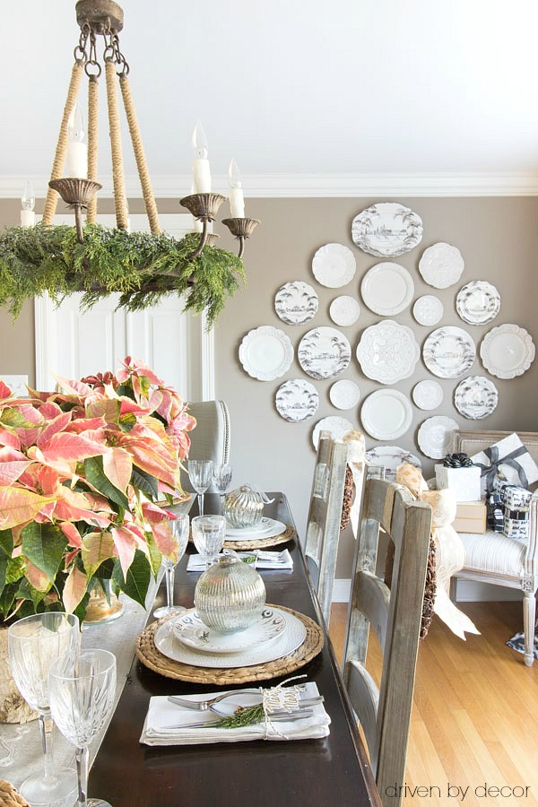 Christmas home tour - plate wall in our Christmas dining room