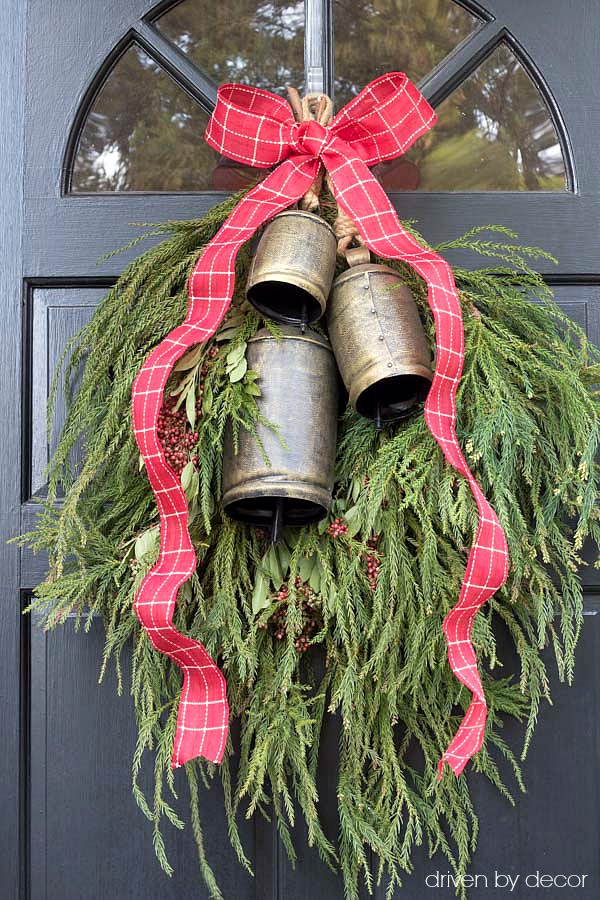 Christmas home tour - simple DIY Christmas front door dec using greenery from your own backyard (post includes link to bells!)
