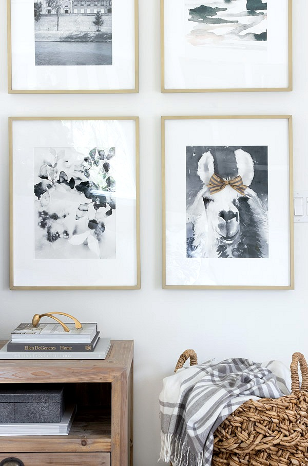 Art prints in brass frames (sources in post) - love the llama!