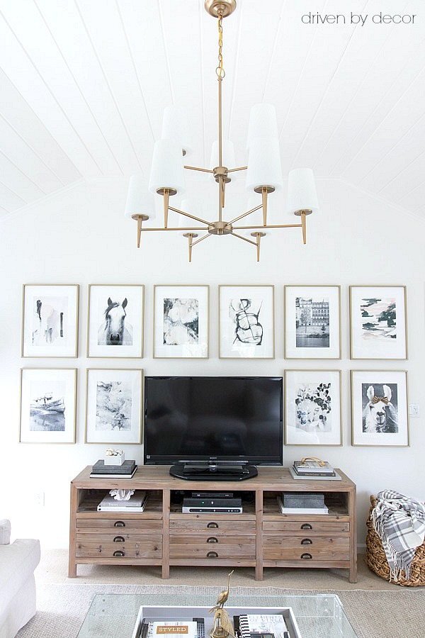 Great idea for decorating around the TV - large-scale art prints matted in brass frames