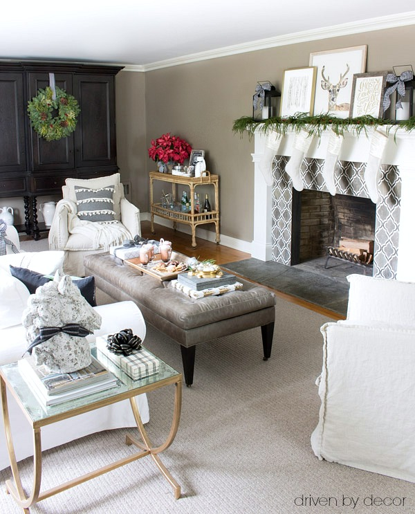 A classic New England home decorated for Christmas