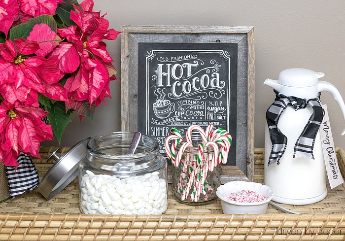 Hot chocolate bar with candy canes, marshmallows, and crushed peppermint