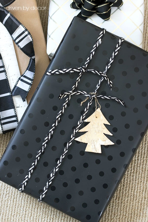 Use thin ribbon or cord to tie lengthwise across package - a simple idea for wrapping for Christmas