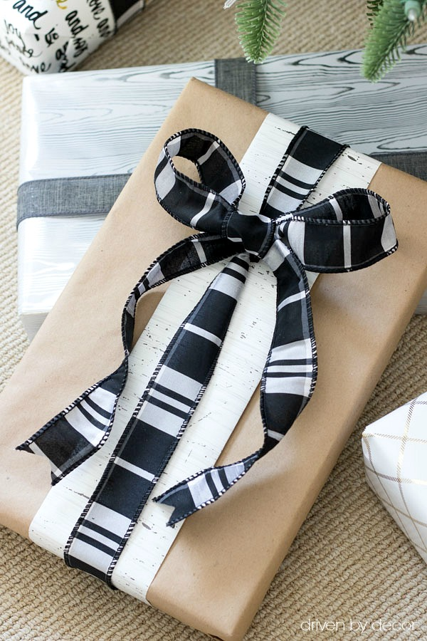 Use leftover wrapping paper scraps and ribbon to dress up a plain kraft paper present!