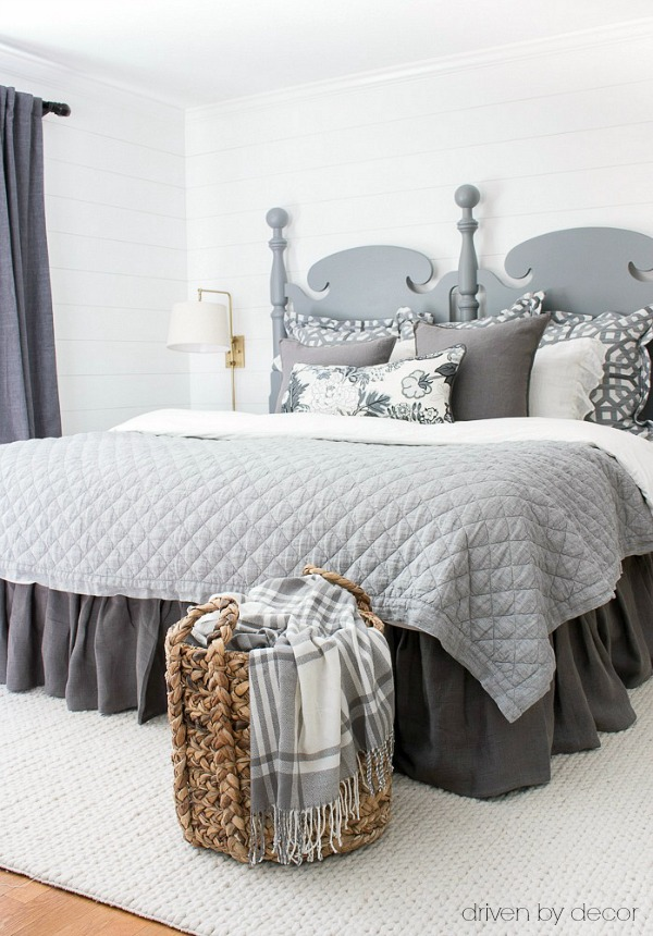 Store throws in a woven basket in bedrooms and family rooms