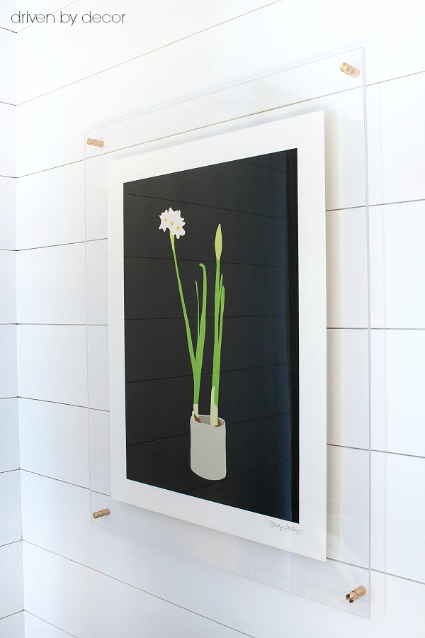 Acrylic frame with brass standoffs - love this look!
