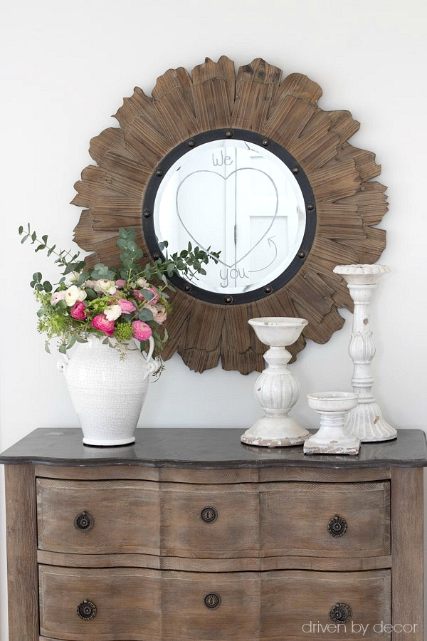 Check out what's on the mirror! Such a cute and simple Valentine's Day idea!
