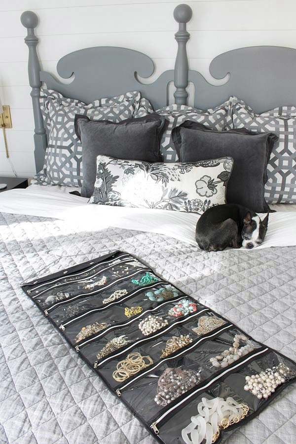 A hanging jewelry organizer is the perfect, simple solution for organizing your necklaces and bracelets!