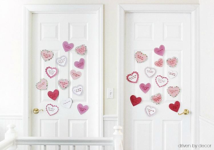 Such a sweet idea! Put surprise paper hearts on your kids' doors with all of the reasons you love them!