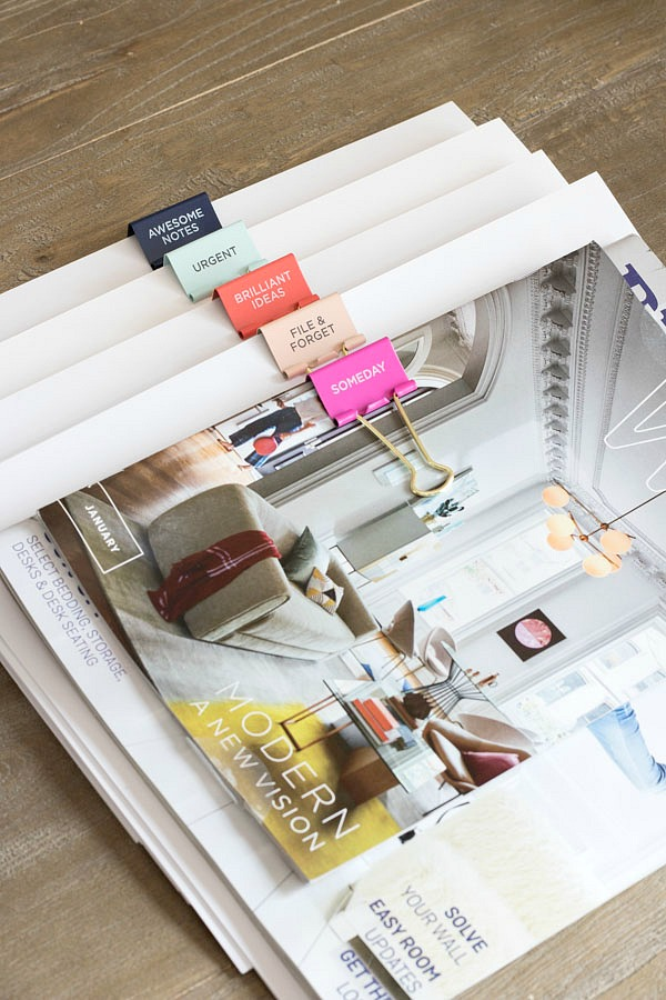 Use colorful labeled clips to organize your papers!