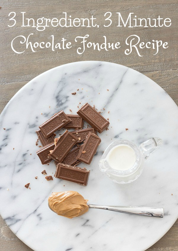 A simple, quick (and delicious!) chocolate fondue recipe with only three ingredients