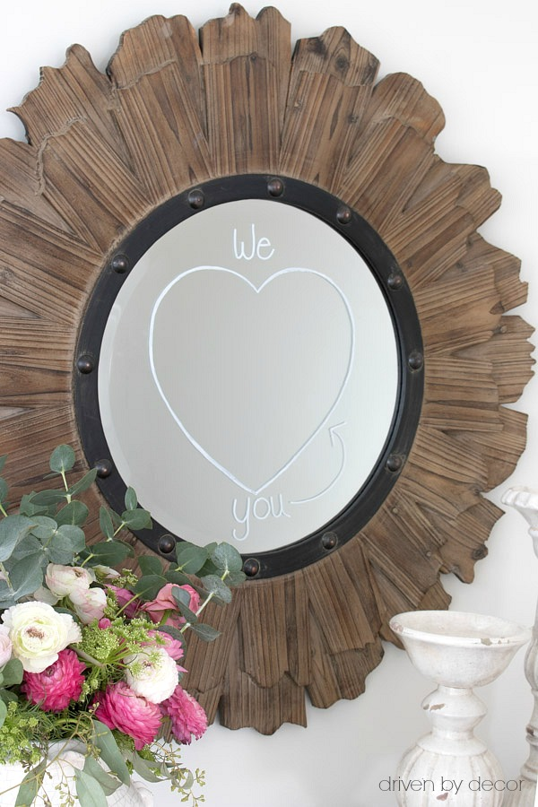So cute! Use chalk pens to draw on mirror for Valentine's Day!
