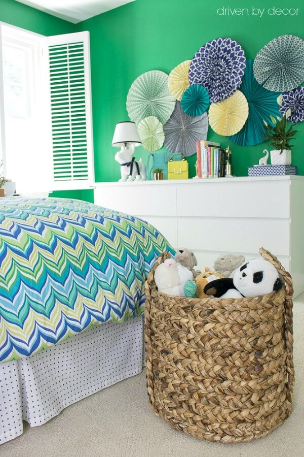 Woven baskets used to store kids' toys and stuffed animals