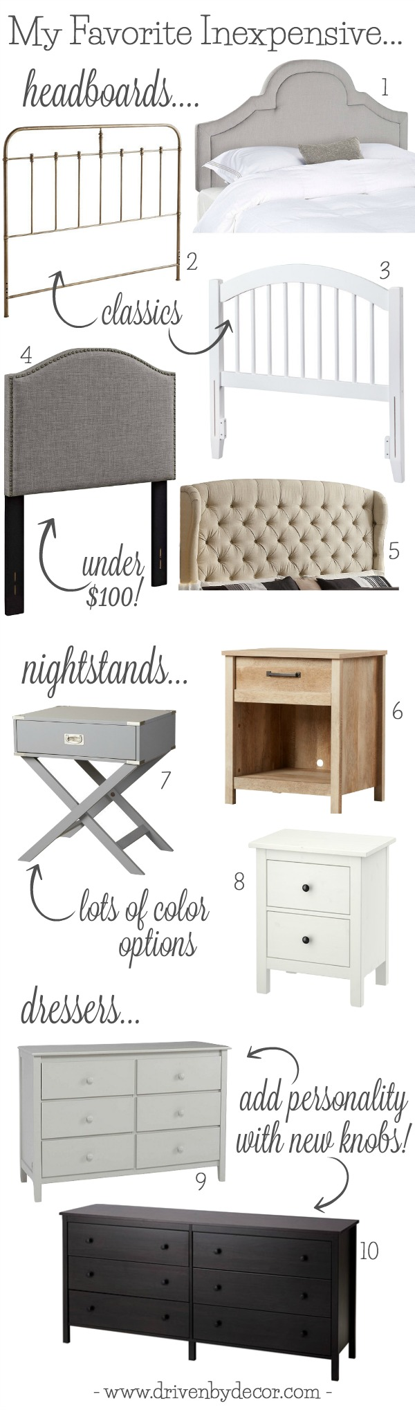my favorite inexpensive bedroom furniture pieces from headboards to nightstands to dressers