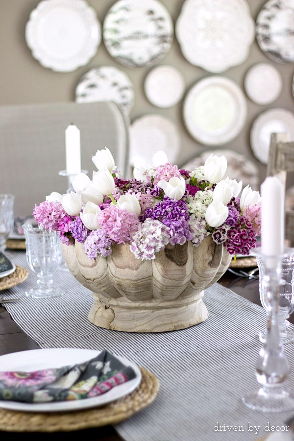 Colorful flowers in a rustic wood bowl for a gorgeous simple centerpiece