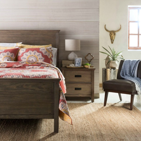 A good looking, inexpensive wood headboard that works well with other woods and painted furniture