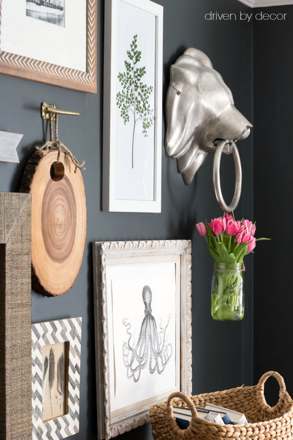 Spring tulips add color to this moody gallery wall