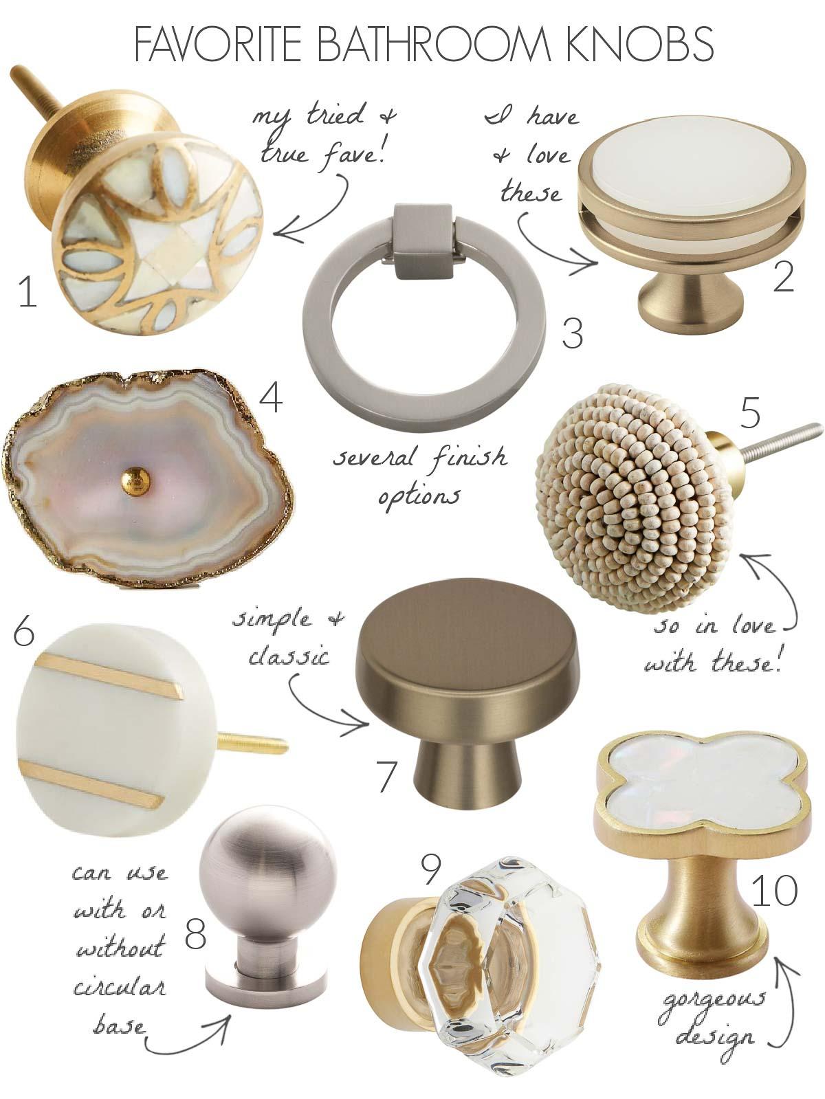 Stylish bathroom cabinet knobs!