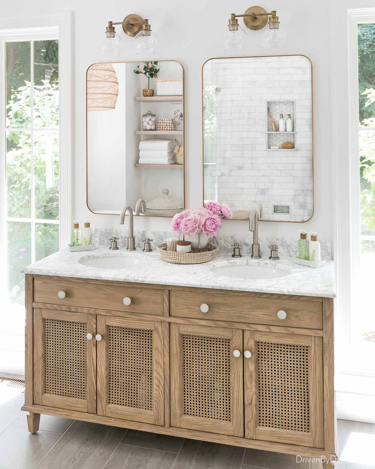 These bathroom cabinet knobs upgraded the look of our vanity!