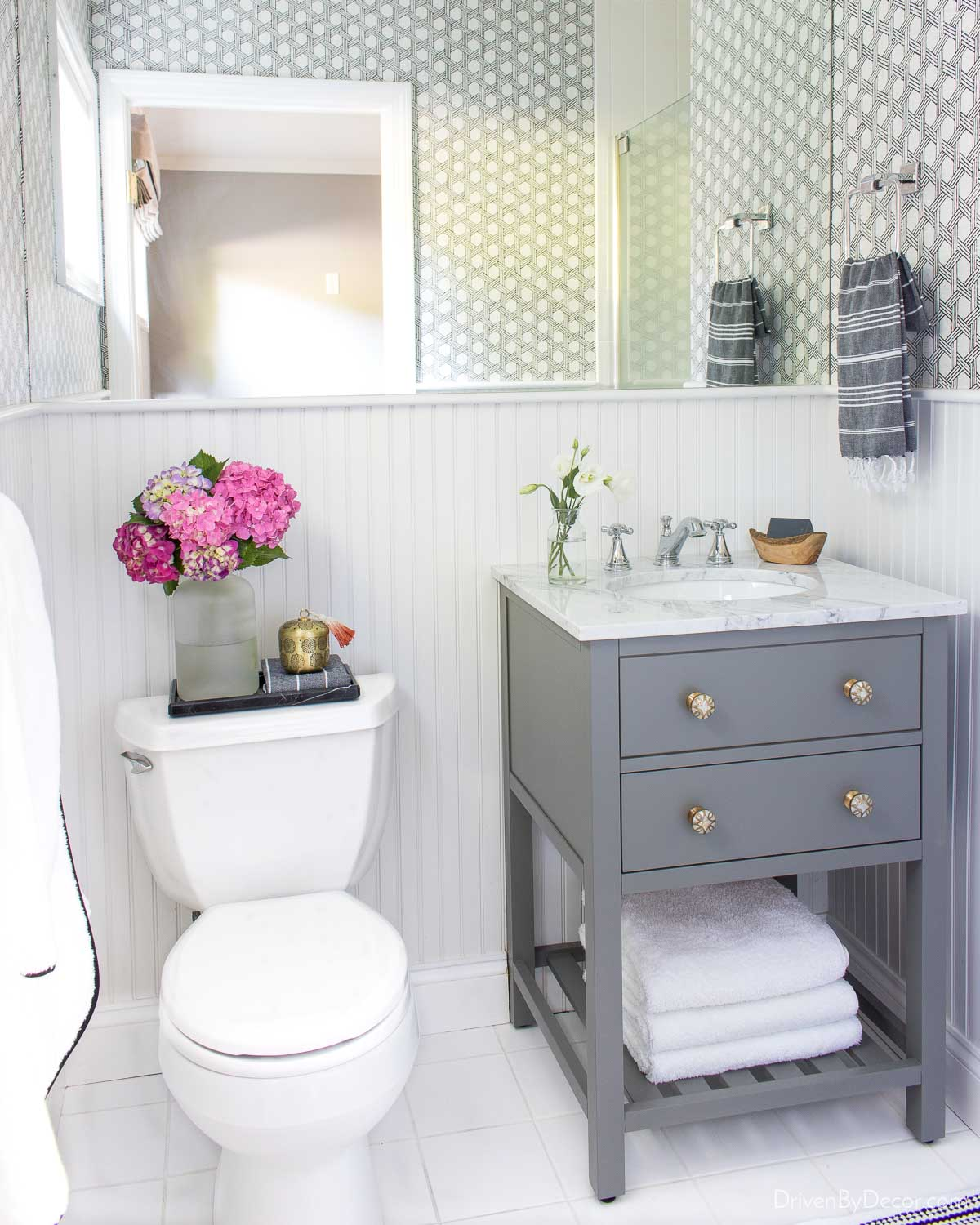 New bathroom cabinet knobs made this small vanity so much more stylish!