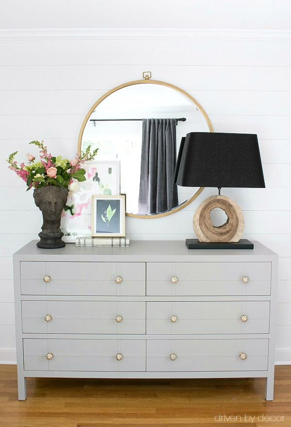 Bedroom dresser makeover with paint and new knobs