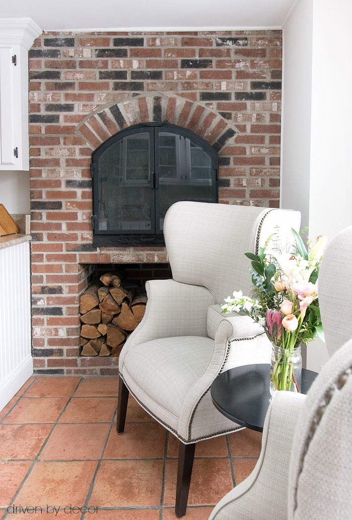 The brick fireplace in our New England kitchen
