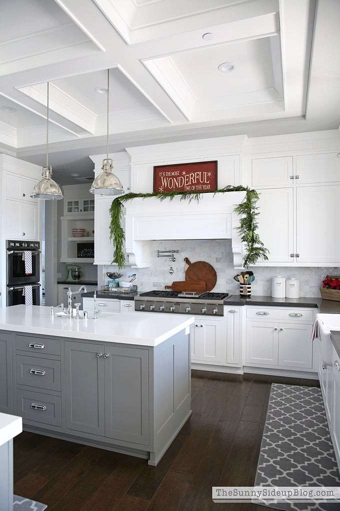 Love the gray kitchen island with the white cabinets around the perimeter - Erin of Sunny Side Up