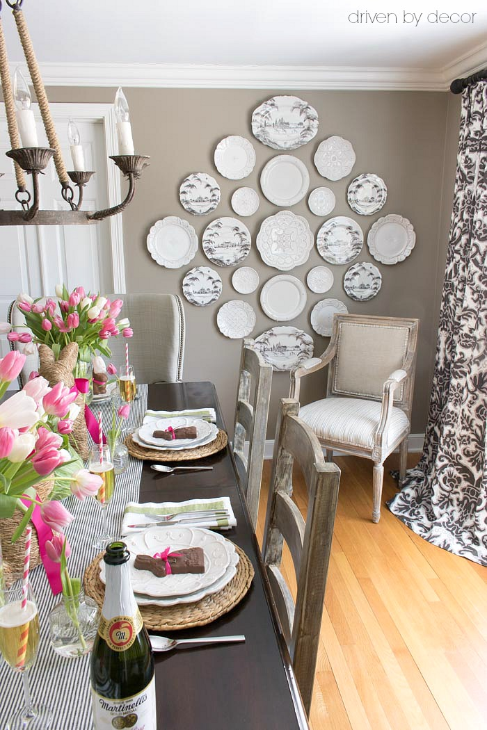 Love the large dining room plate wall!