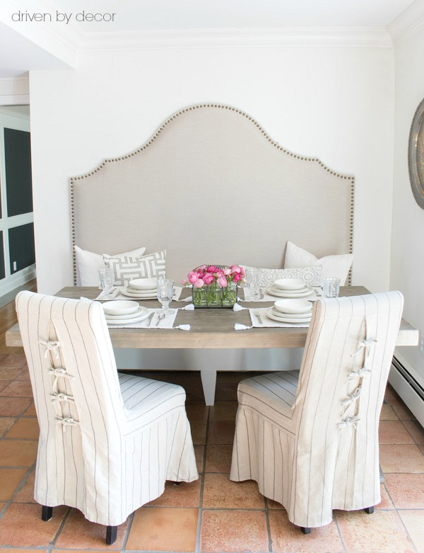 Loving this tall banquette (a DIY) as part of a kitchen breakfast nook