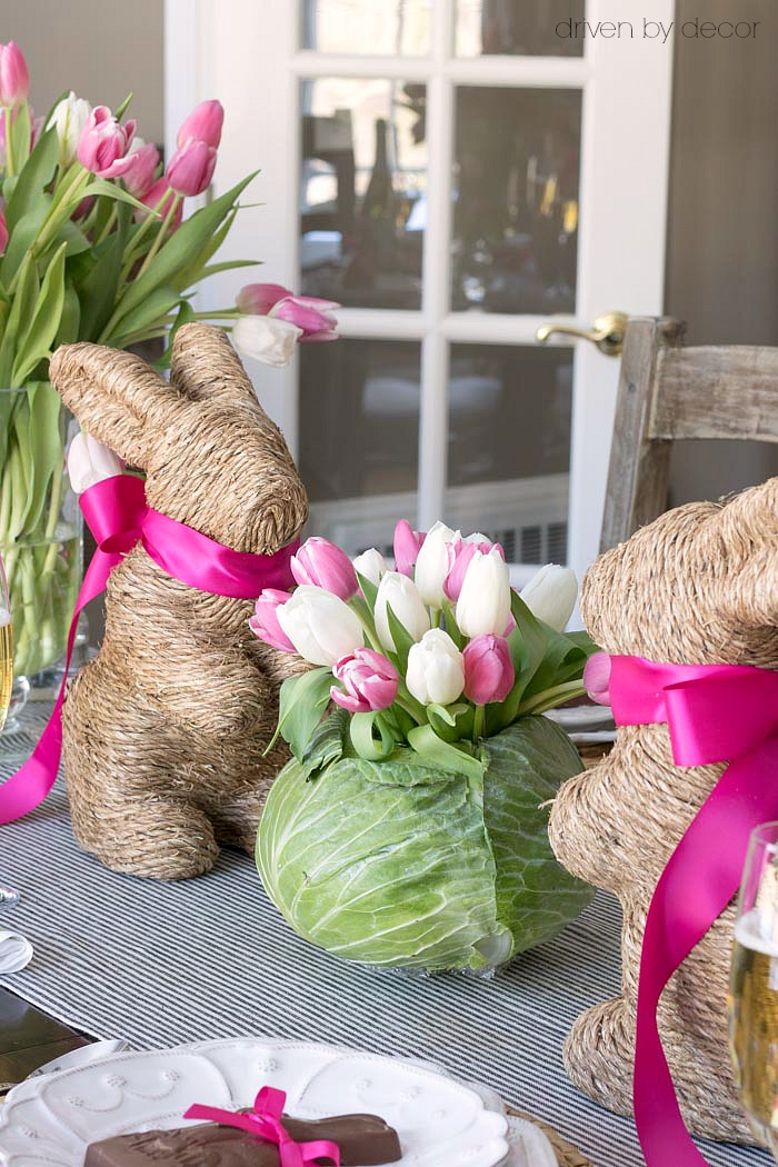 Darling Idea For An Easter Table Centerpiece! Hollow Out A Cabbage To Fit A  Small