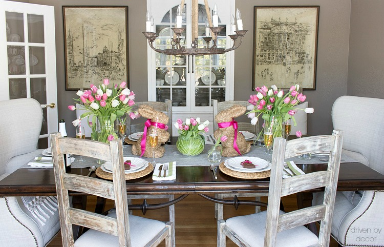 Love the idea of mixing up seating in the dining room - wingback upholstered chairs on the end and simple ladderback chairs on the sides!