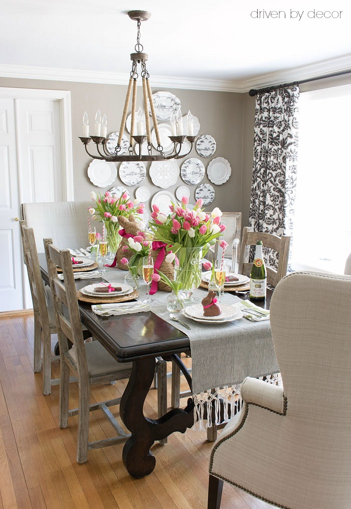 Setting a simple easter table with decorations you can for Simple dining room table decor