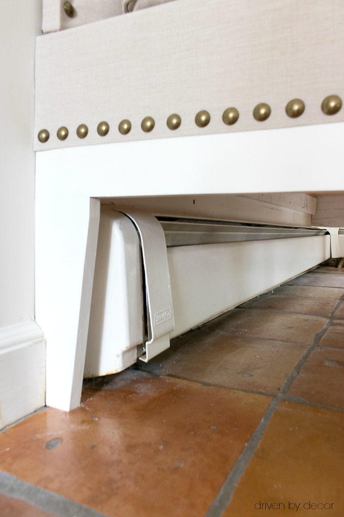 Working around baseboard heating with our DIY kitchen banquette