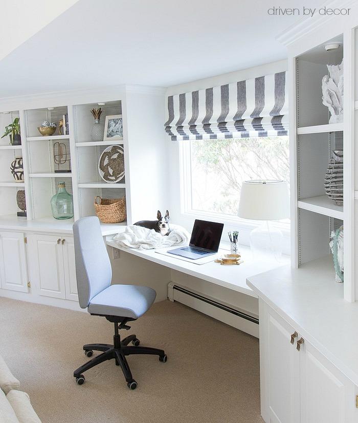 IKEA's VOLMAR desk chair (love the desk between the bookcases!)