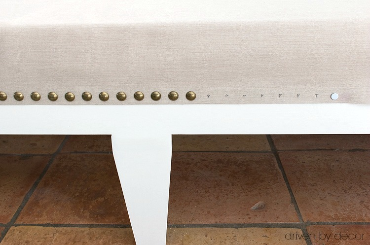 How to got your nailhead trim in a straight line