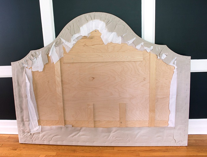 Back of headboard showing how to upholster it