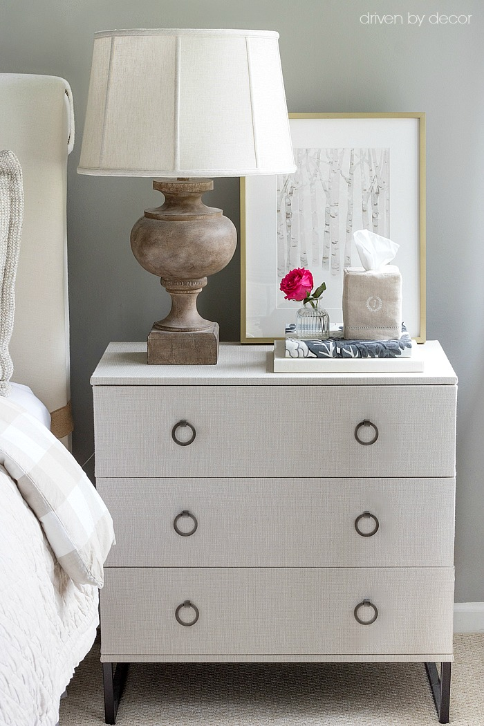 Awesome DIY! IKEA TRYSIL chest covered in fabric!