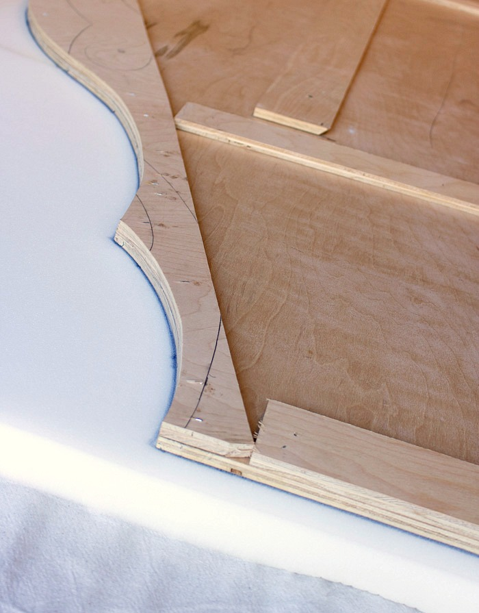 Trace edges of headboard on top of foam to get the correct shape to cut out