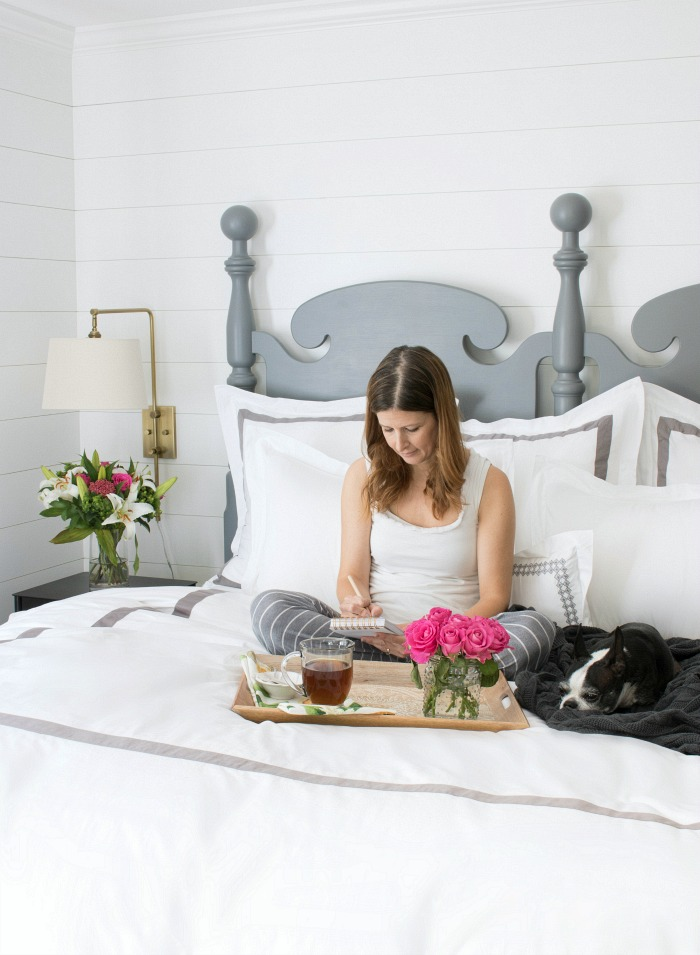 Gorgeous banded bedding - love the duvet and shams!