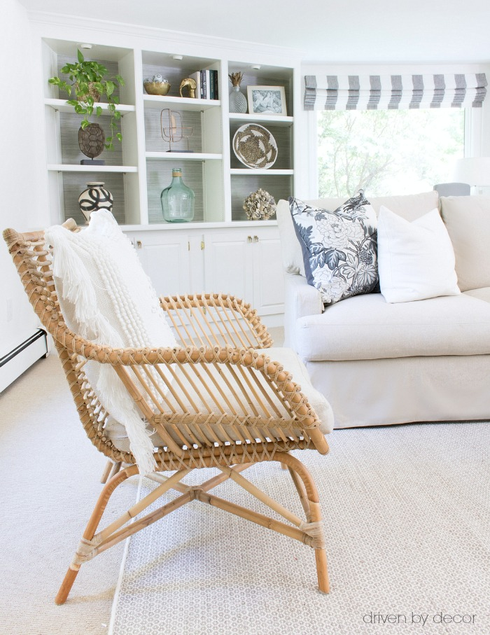 A comfortable rattan chair that adds warmth to the room (post includes link to chair!)
