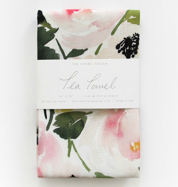 Gorgeous watercolor floral tea towel