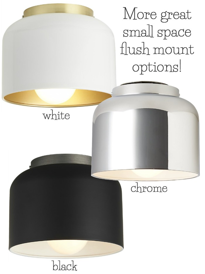 Simple inexpensive bell shaped flush mount lighting that's perfect for small spaces!