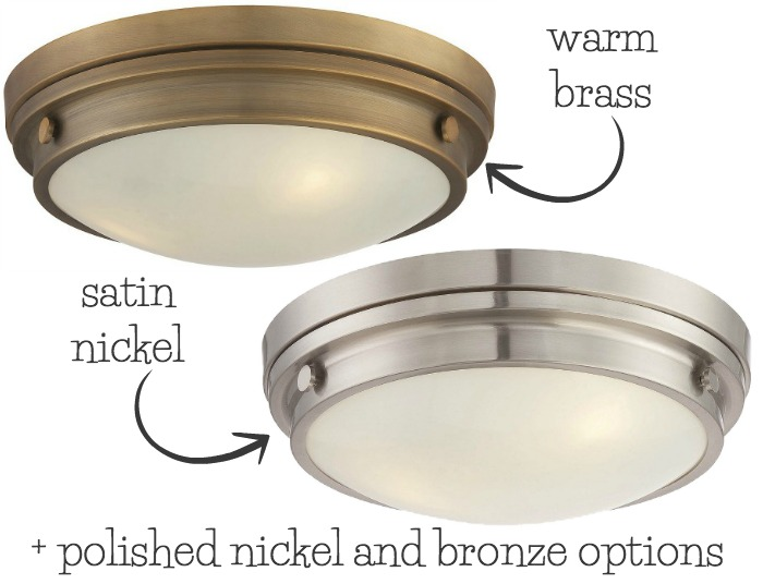 An inexpensive but beautiful flush mount light in four finish options - one of my favorites from this helpful post on flush mount lighting!
