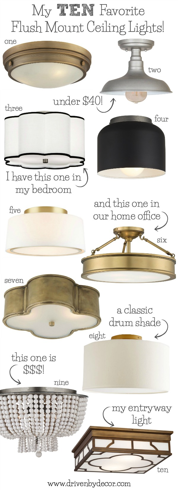 Best flush mount ceiling lighting my 10 faves from inexpensive to love these flush mount ceiling light great choices for your bedrooms kitchen family mozeypictures