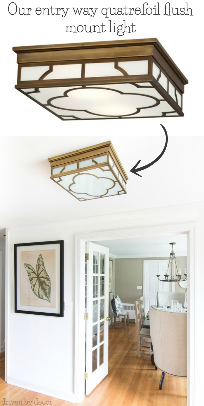 A great choice for a flush mount ceiling light - love it in this entryway!