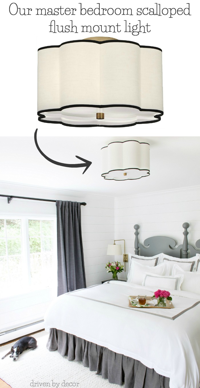 A beautiful flush mount ceiling light option for a bedroom - post includes a link to it plus lots more flush mount lighting options!